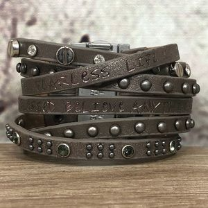 Cool Cuff Strand Leather Message Bracelet (Buckle)